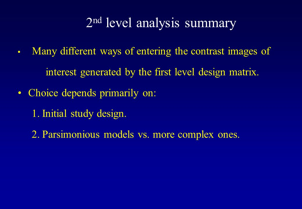 2nd level analysis summary