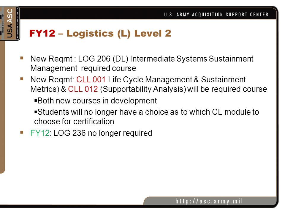 FY12 – Logistics (L) Level 2