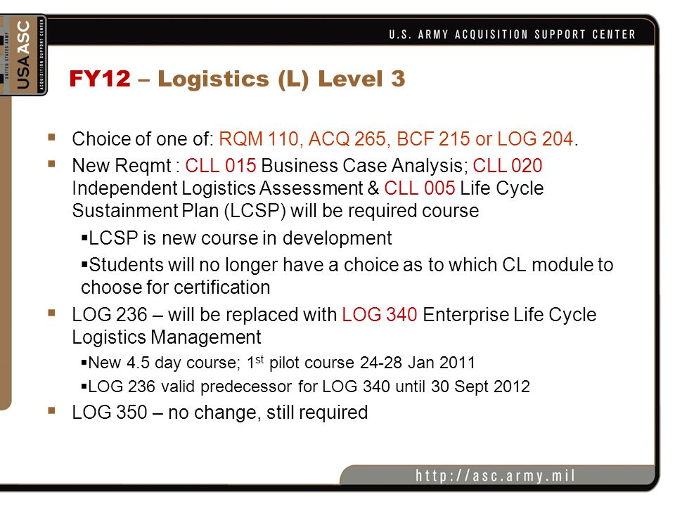 FY12 – Logistics (L) Level 3