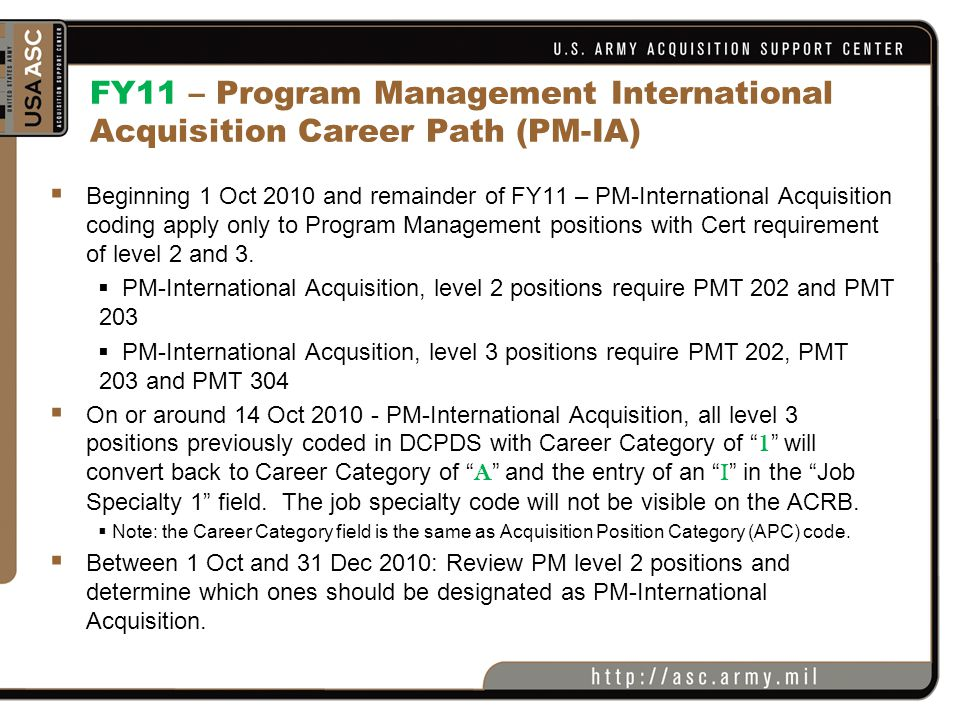 FY11 – Program Management International Acquisition Career Path (PM-IA)