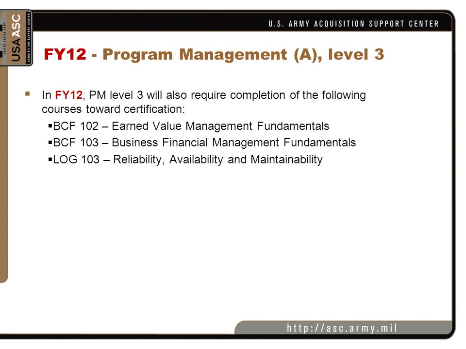 FY12 - Program Management (A), level 3