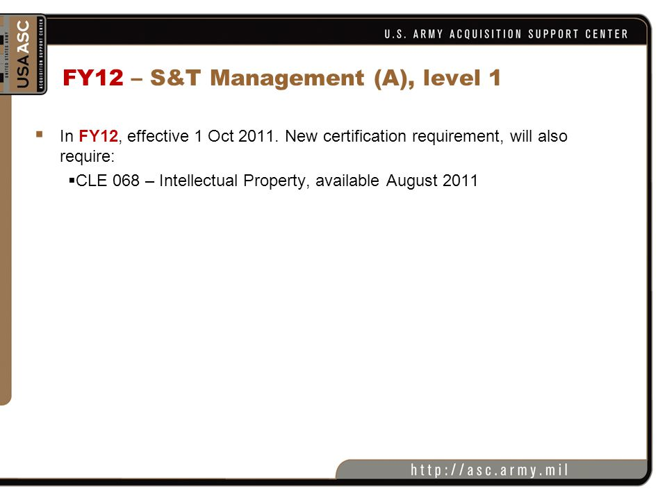 FY12 – S&T Management (A), level 1