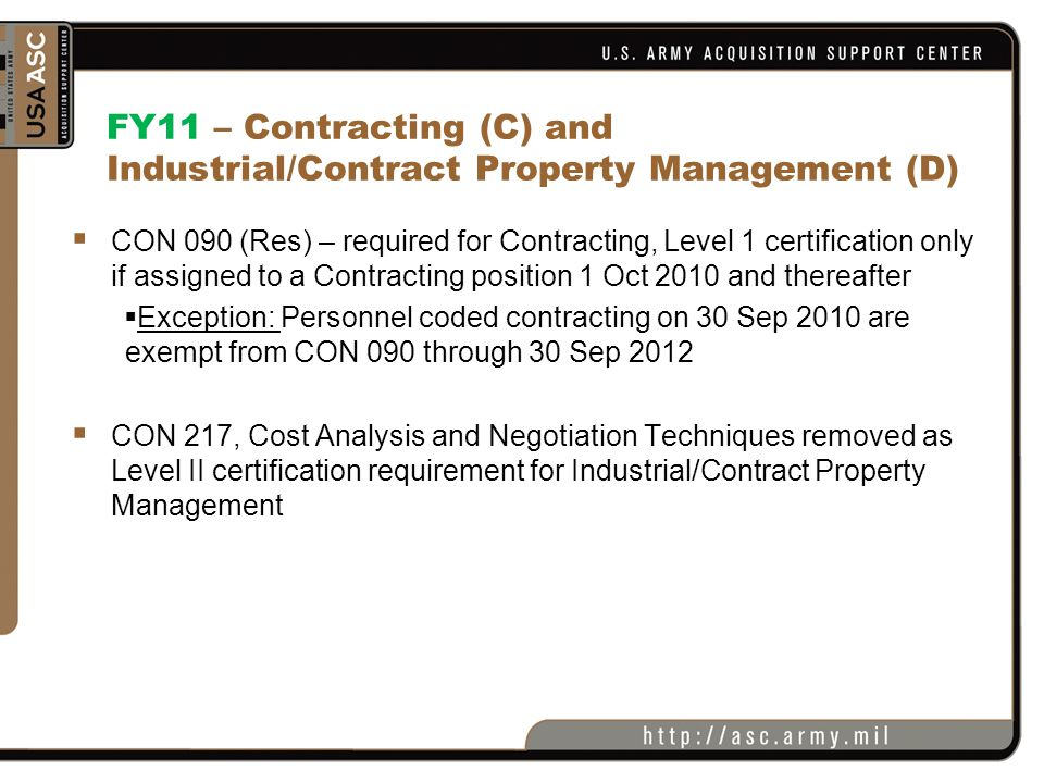 FY11 – Contracting (C) and Industrial/Contract Property Management (D)