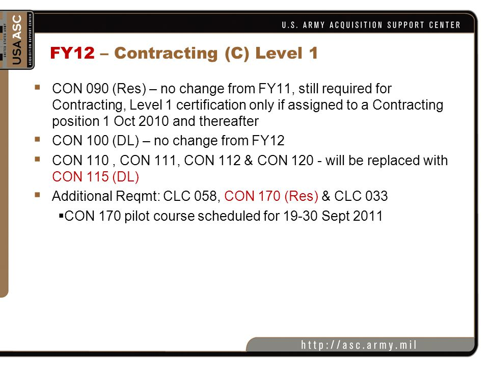 FY12 – Contracting (C) Level 1