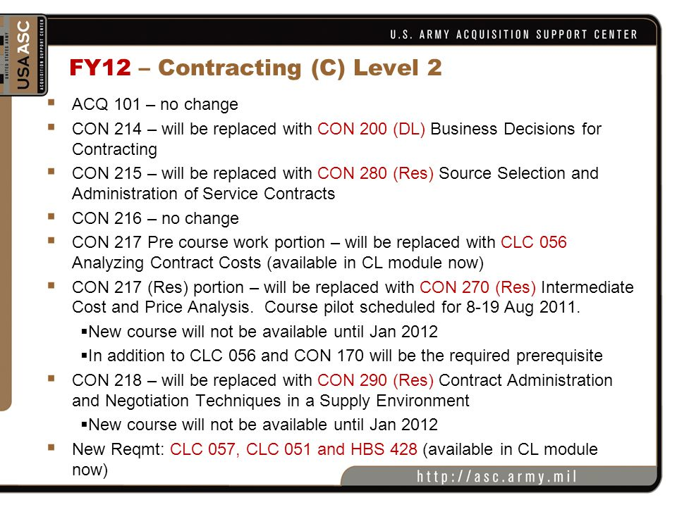 FY12 – Contracting (C) Level 2