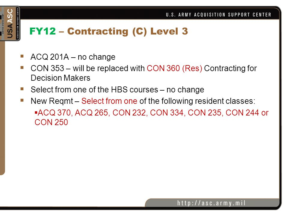 FY12 – Contracting (C) Level 3
