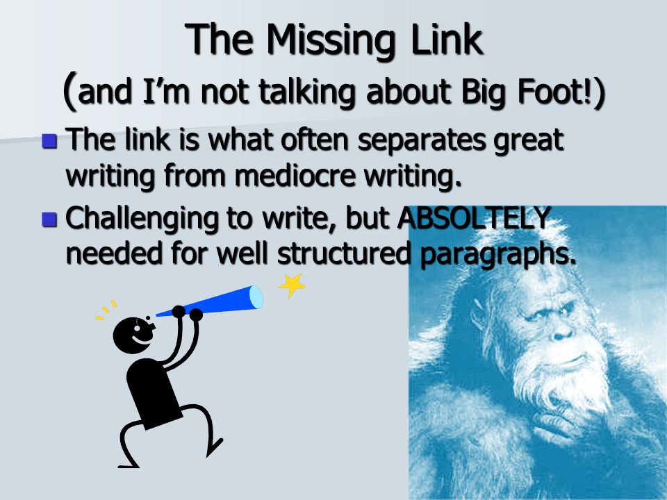 The Missing Link (and I'm not talking about Big Foot!)