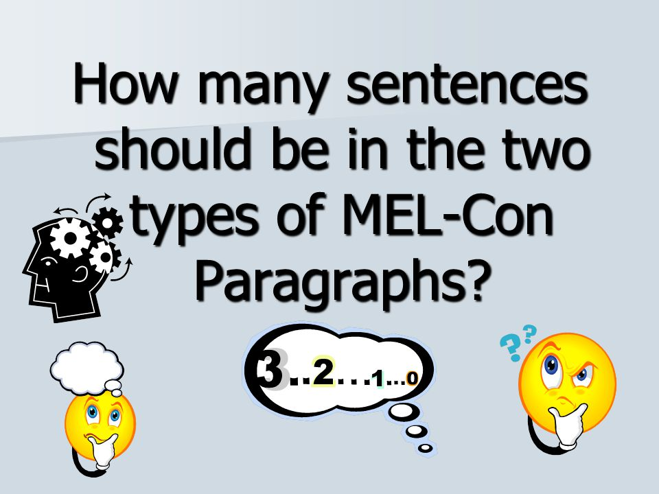 How many sentences should be in the two types of MEL-Con Paragraphs