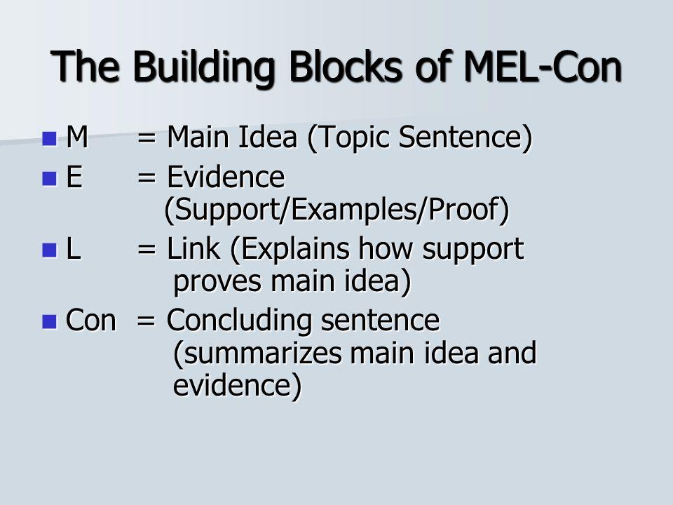 The Building Blocks of MEL-Con