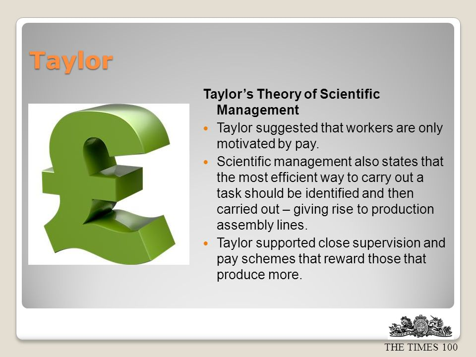 Taylor Taylor's Theory of Scientific Management