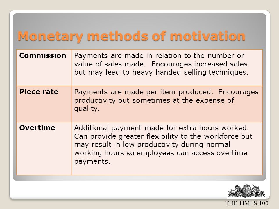 Monetary methods of motivation
