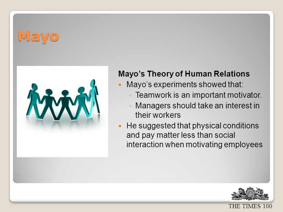 Mayo Mayo's Theory of Human Relations Mayo's experiments showed that: