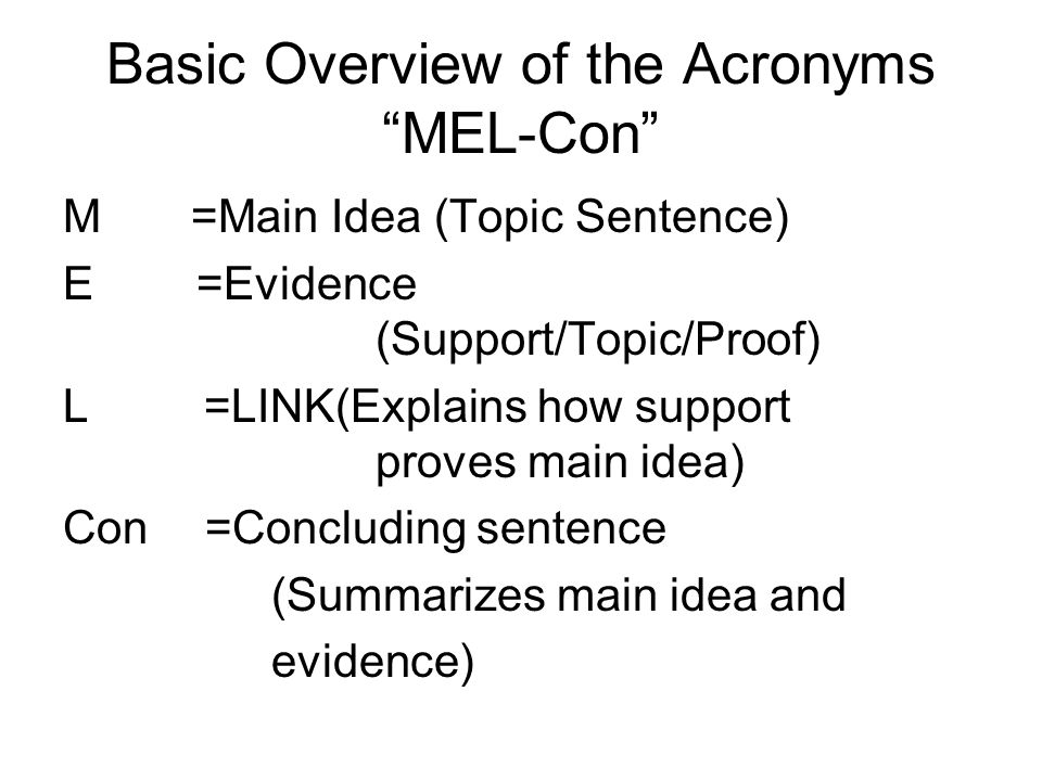 Basic Overview of the Acronyms MEL-Con