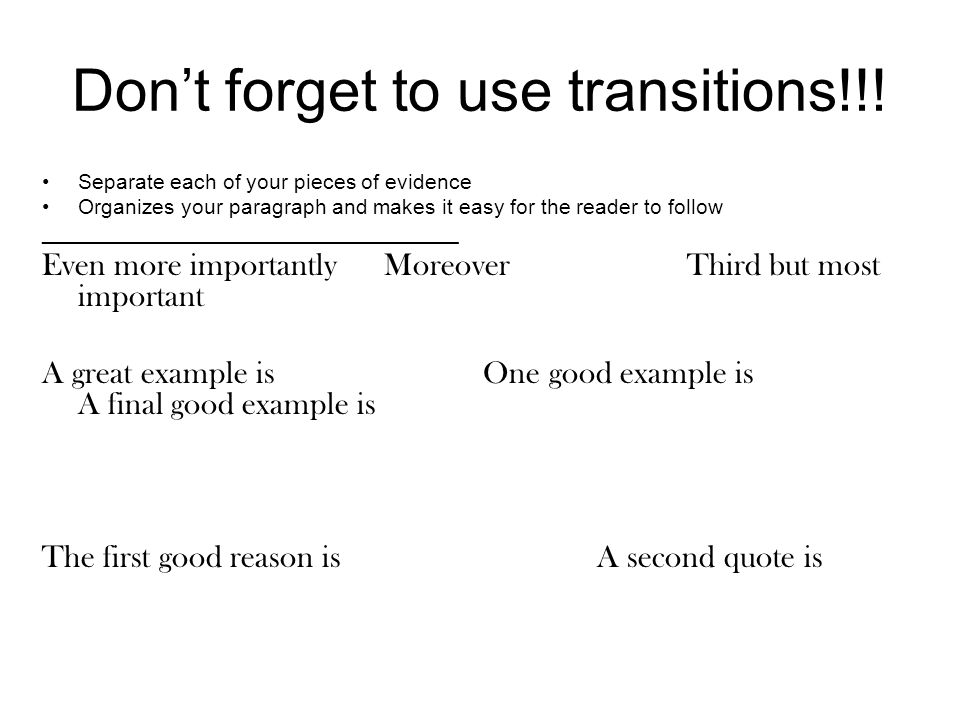 Don't forget to use transitions!!!