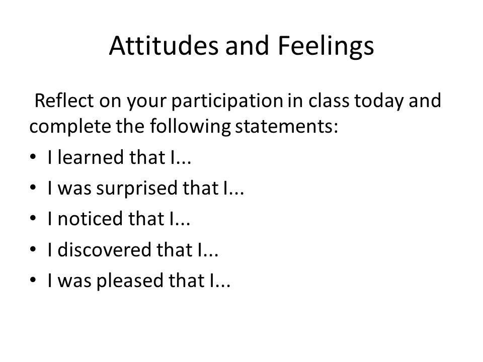 Attitudes and Feelings