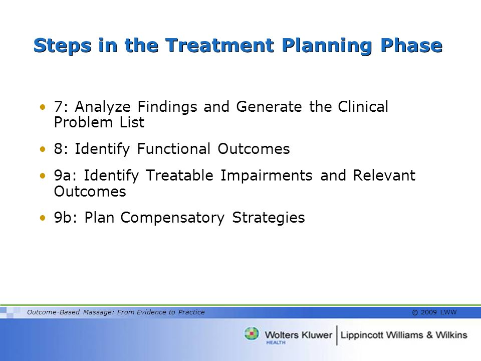 Steps in the Treatment Planning Phase