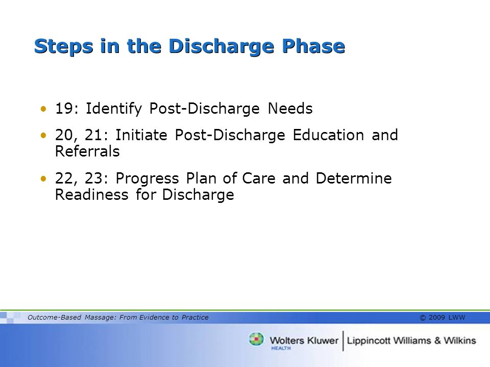 Steps in the Discharge Phase