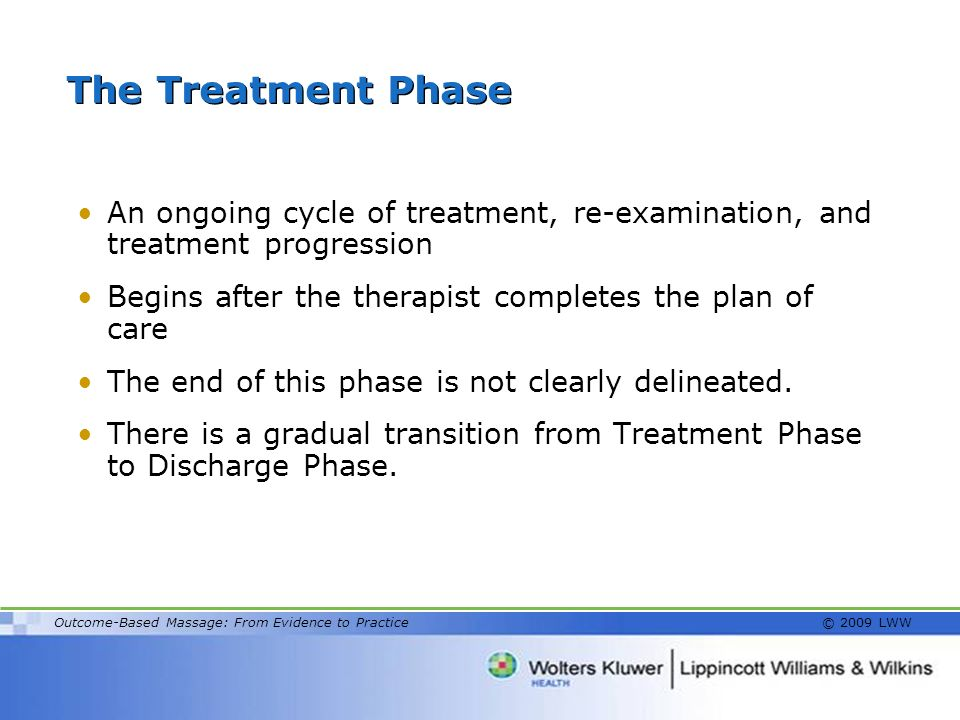 The Treatment Phase An ongoing cycle of treatment, re-examination, and treatment progression.