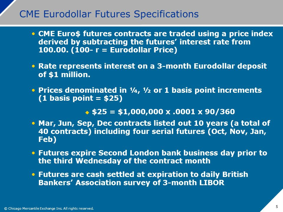 CME Eurodollar Futures Specifications