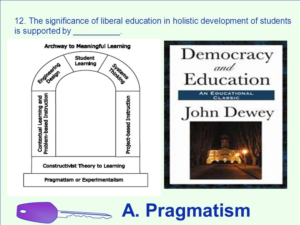 12. The significance of liberal education in holistic development of students is supported by __________.