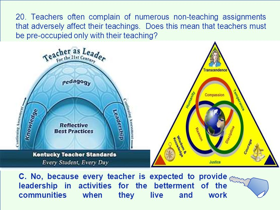 20. Teachers often complain of numerous non-teaching assignments that adversely affect their teachings. Does this mean that teachers must be pre-occupied only with their teaching