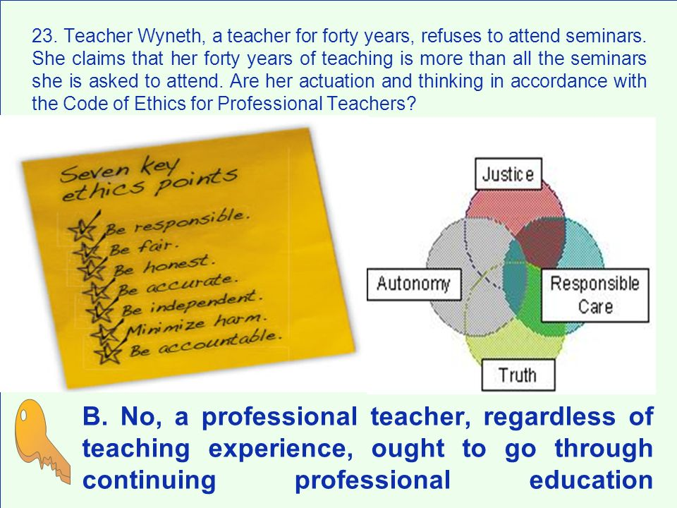 23. Teacher Wyneth, a teacher for forty years, refuses to attend seminars. She claims that her forty years of teaching is more than all the seminars she is asked to attend. Are her actuation and thinking in accordance with the Code of Ethics for Professional Teachers