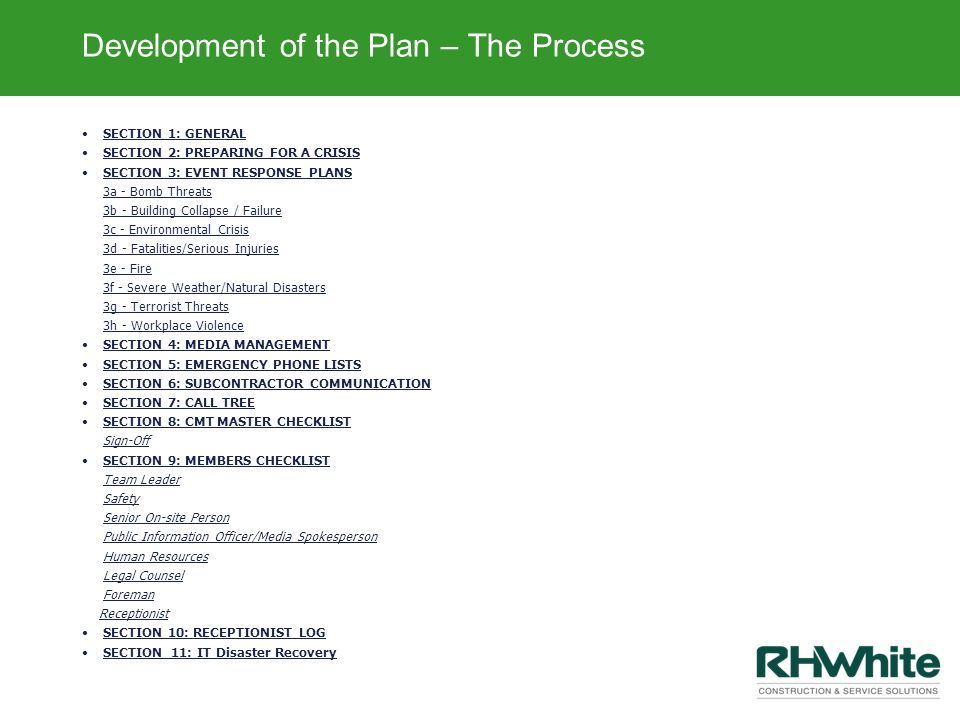 Development of the Plan – The Process
