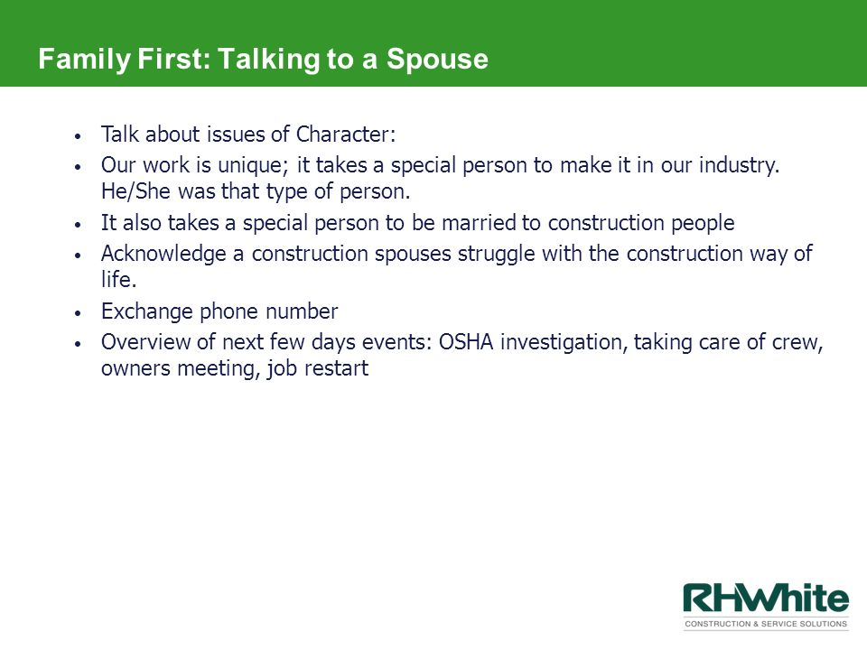 Family First: Talking to a Spouse