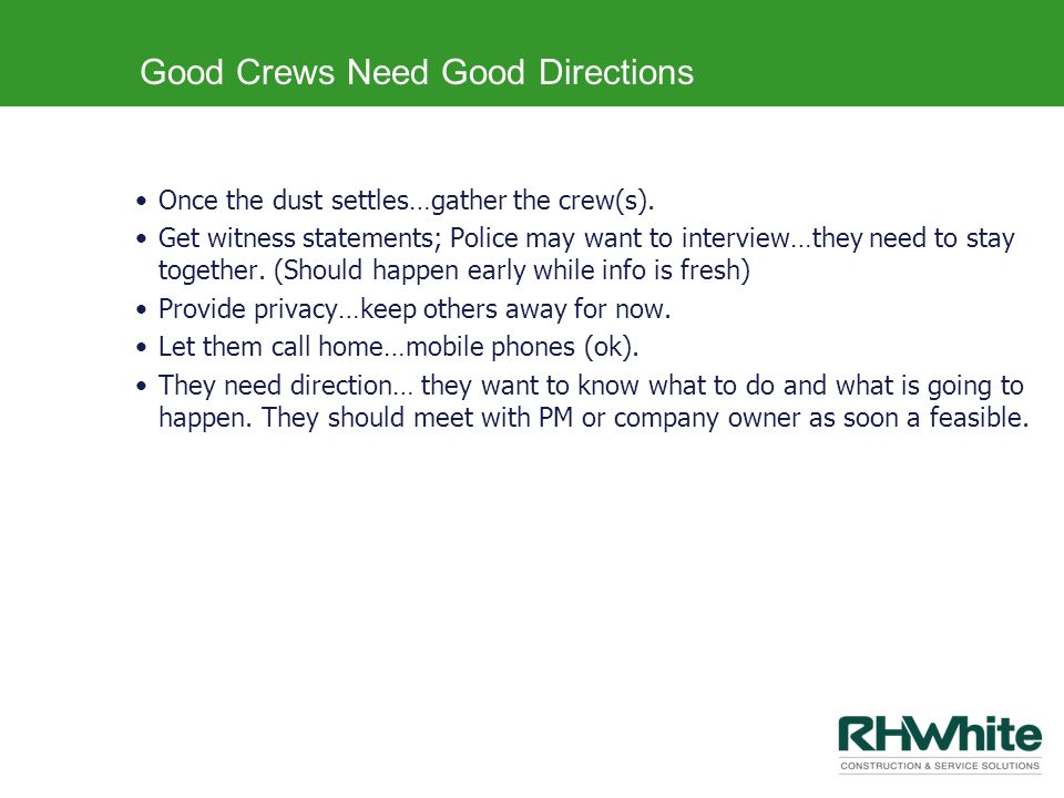 Good Crews Need Good Directions
