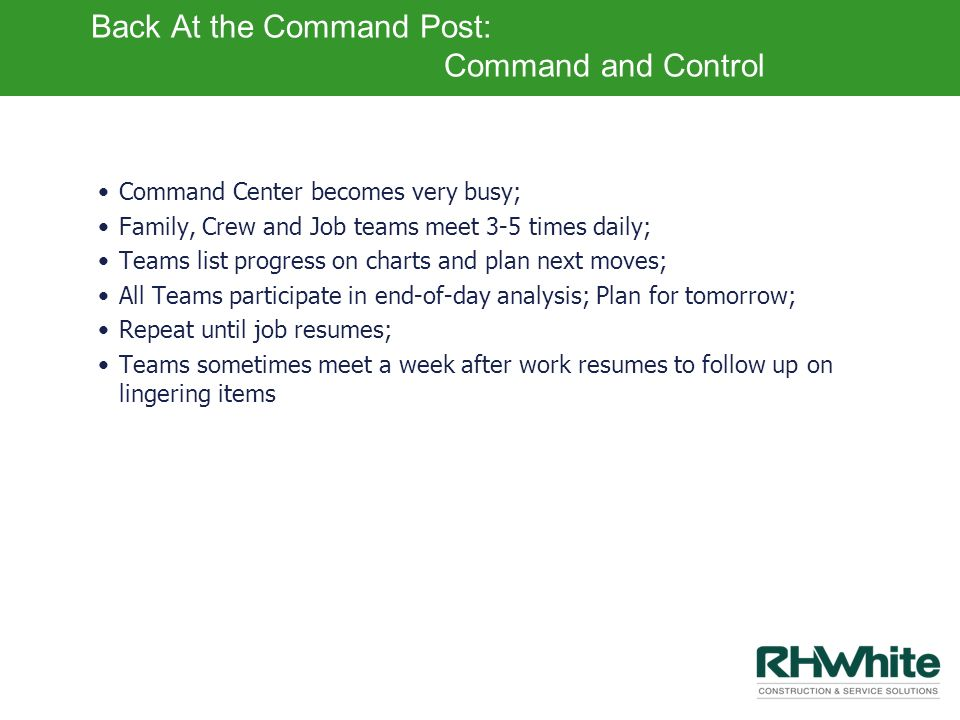 Back At the Command Post: Command and Control