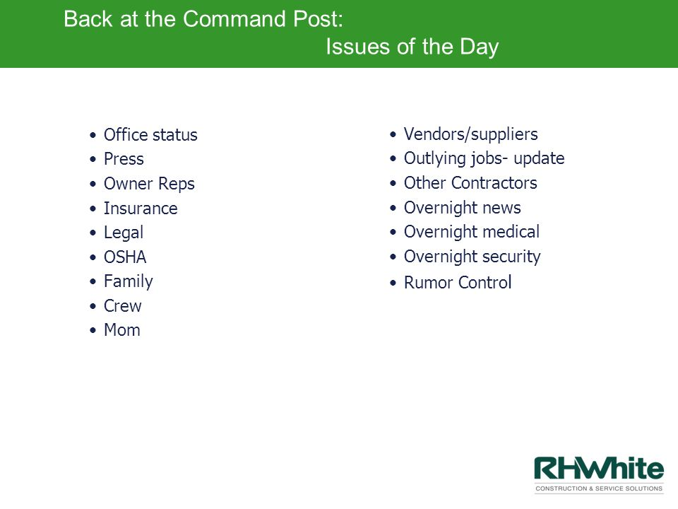 Back at the Command Post: Issues of the Day