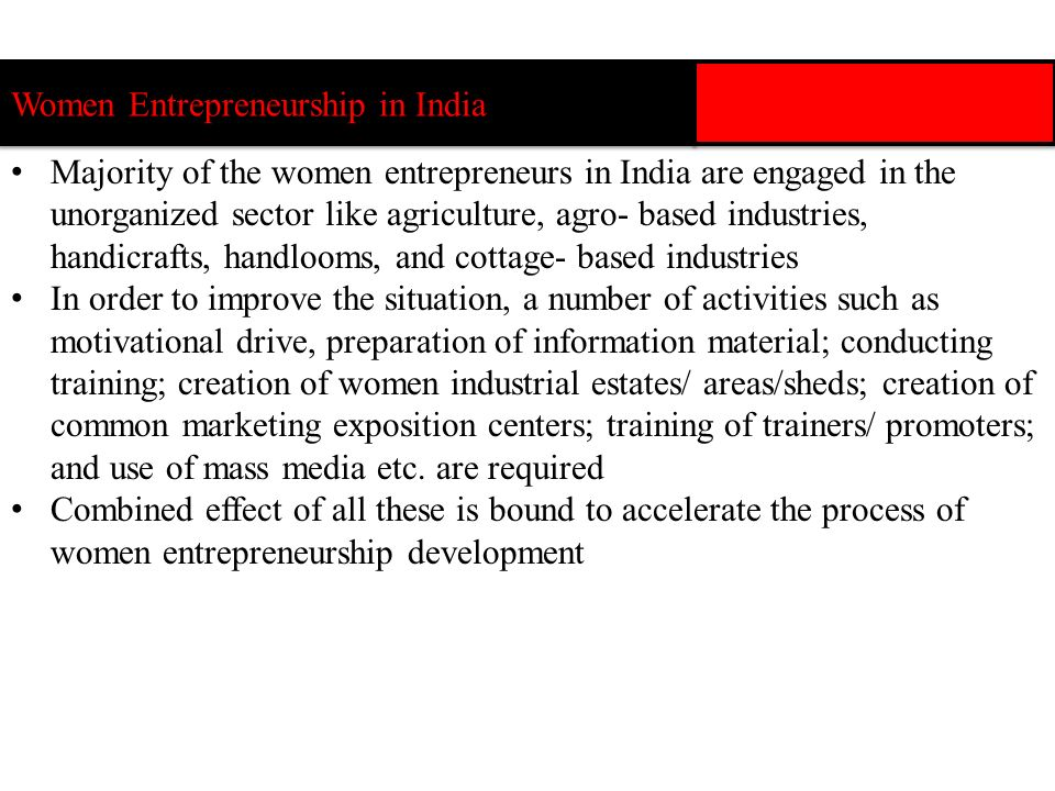 Women Entrepreneurship in India