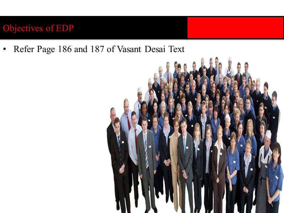 Objectives of EDP Refer Page 186 and 187 of Vasant Desai Text