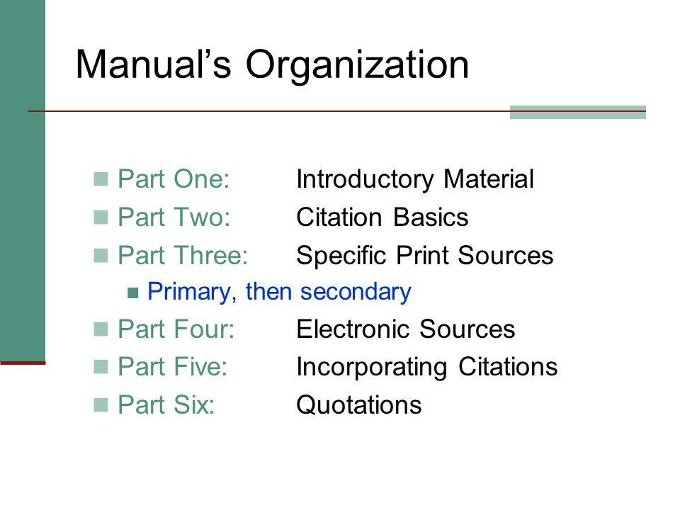 Manual's Organization