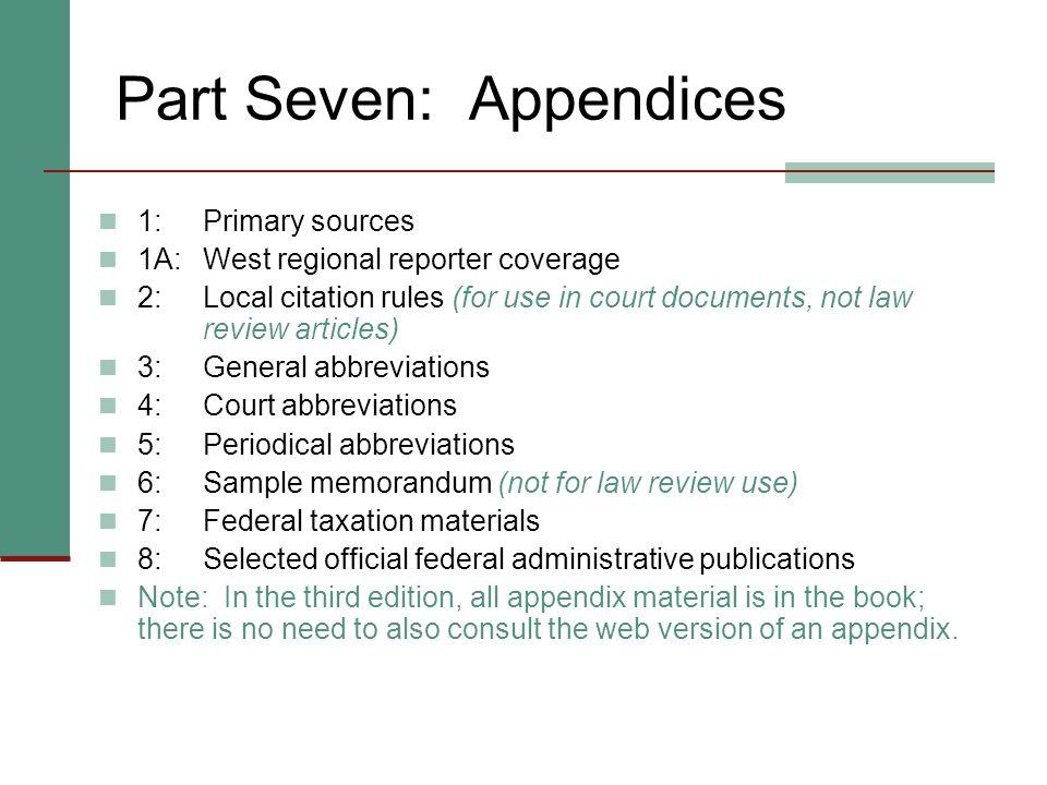 Part Seven: Appendices