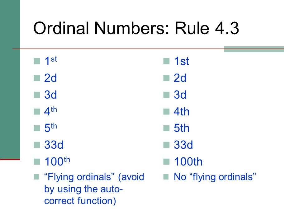 Ordinal Numbers: Rule 4.3 1st 2d 3d 4th 5th 33d 100th 1st 2d 3d 4th