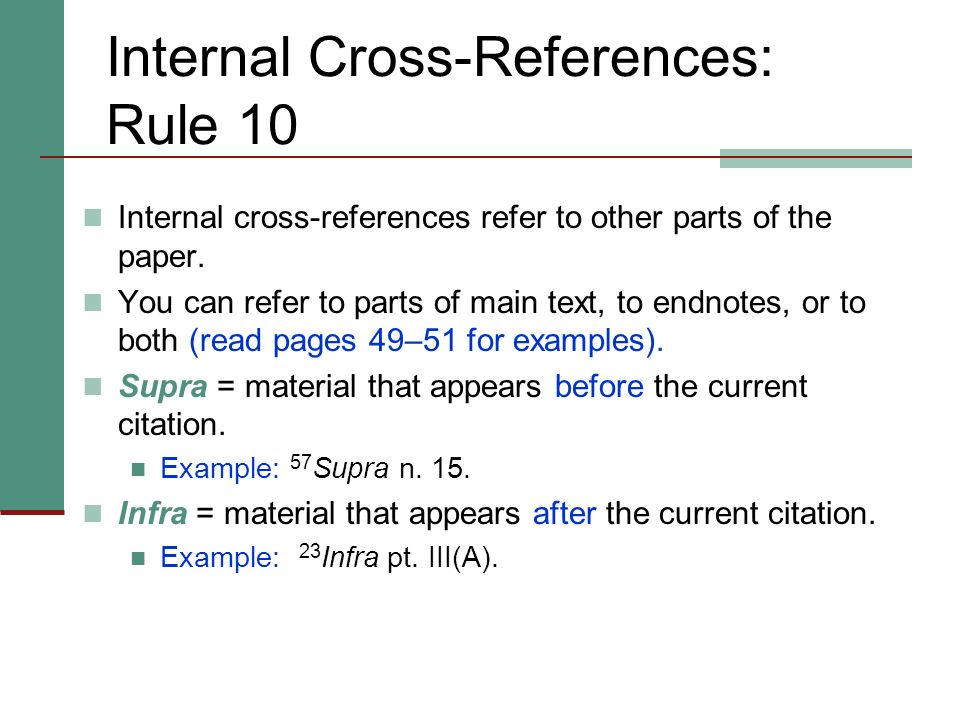 Internal Cross-References: Rule 10