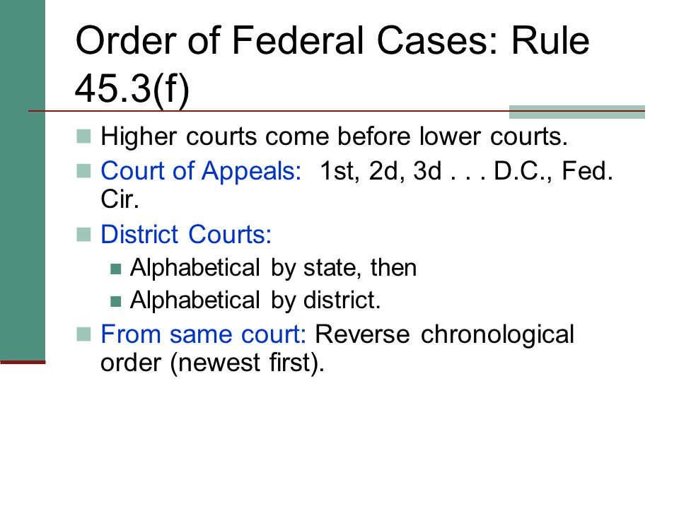 Order of Federal Cases: Rule 45.3(f)