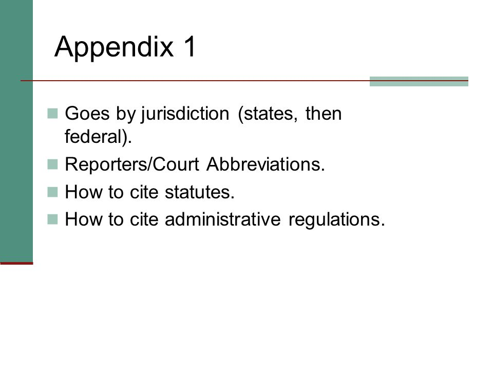 Appendix 1 Goes by jurisdiction (states, then federal).