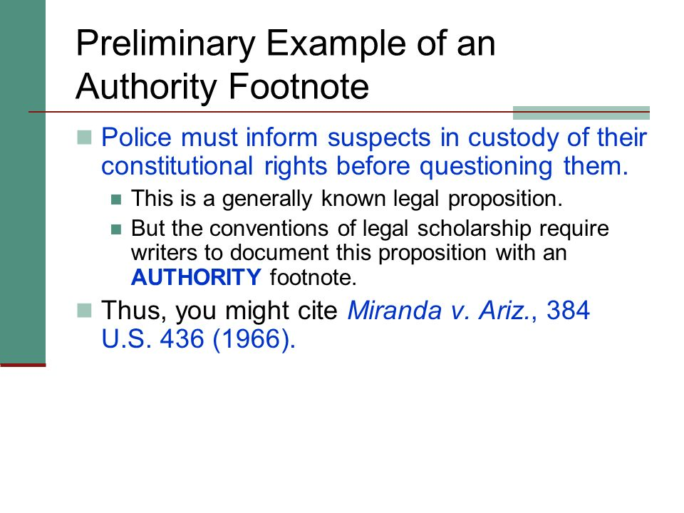 Preliminary Example of an Authority Footnote