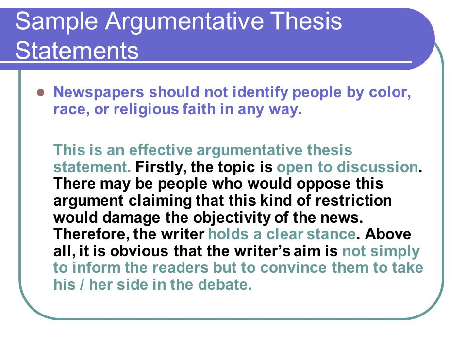 argumentative essay ppt  sample argumentative thesis statements