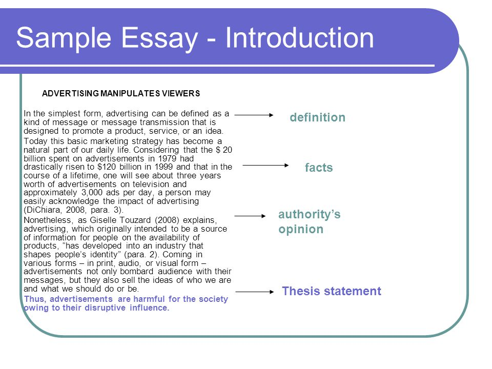 sample of introduction essay Now, you probably are already familiar with the definition of an essay, and the basics of writing one you're also probably aware of the purpose of writing essays and the different writing styles one may use in writing a composition here, we will be talking about self-introduction essay, and look into different examples such as.