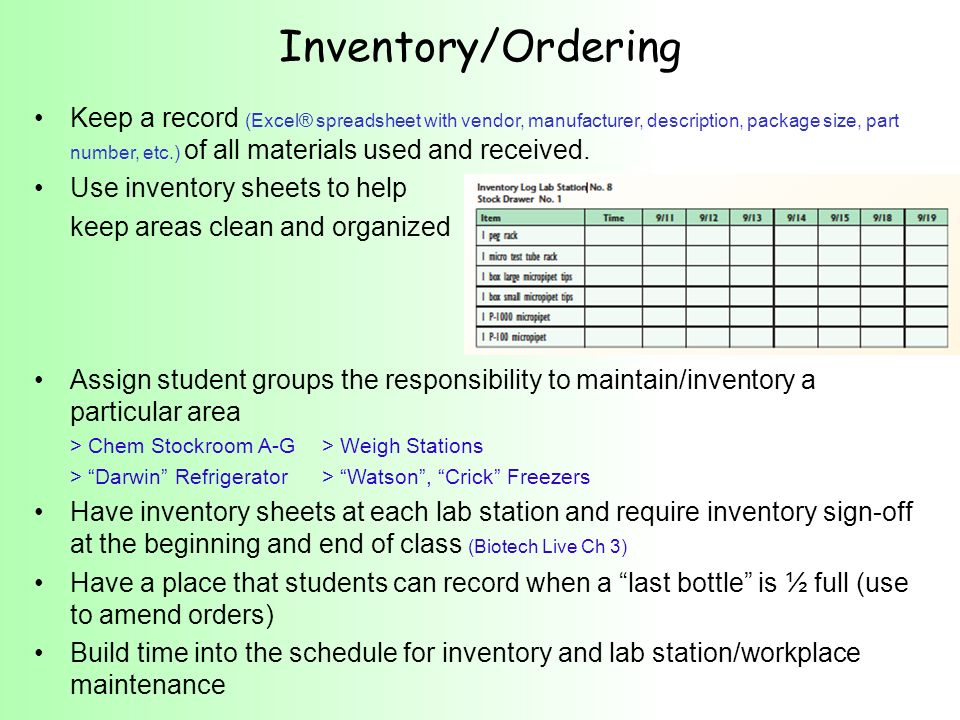 Inventory/Ordering