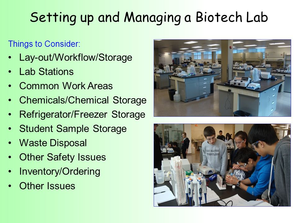Setting up and Managing a Biotech Lab