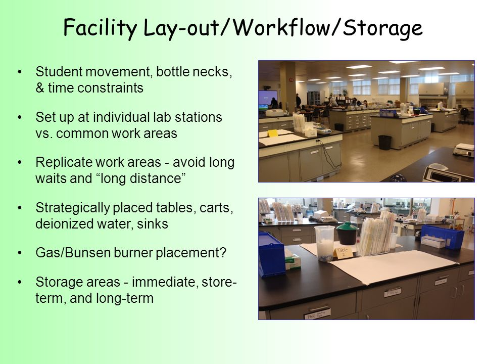 Facility Lay-out/Workflow/Storage