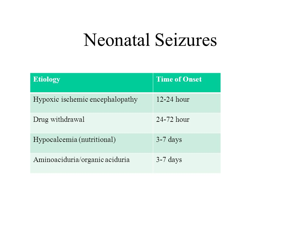 Neonatal Seizures Etiology Time of Onset