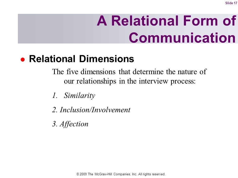 A Relational Form of Communication