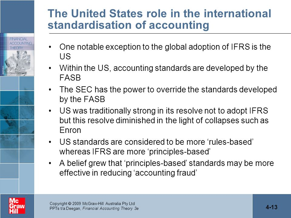 The United States role in the international standardisation of accounting