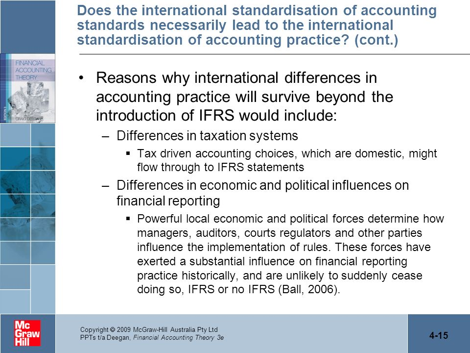 Does the international standardisation of accounting standards necessarily lead to the international standardisation of accounting practice (cont.)