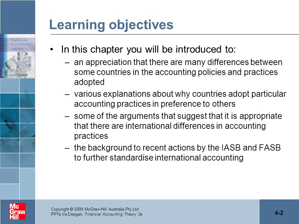Learning objectives In this chapter you will be introduced to: